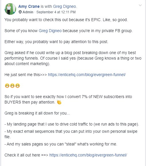 Promote in Facebook Group