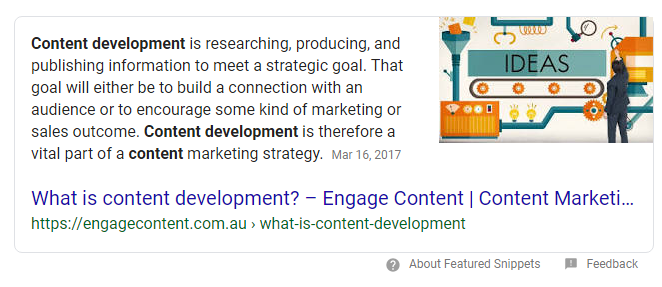 content development featured snippet