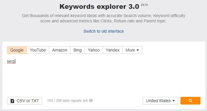 keyword explorer serp