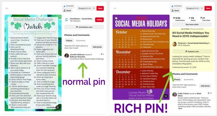 Rich Pins vs Normal Pin