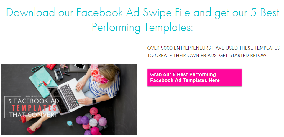 Facebook ad templates that Social Lab Marketing uses as a lead magnet.