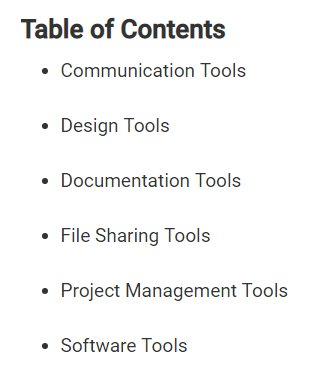 Table of contents for online collaboration tools