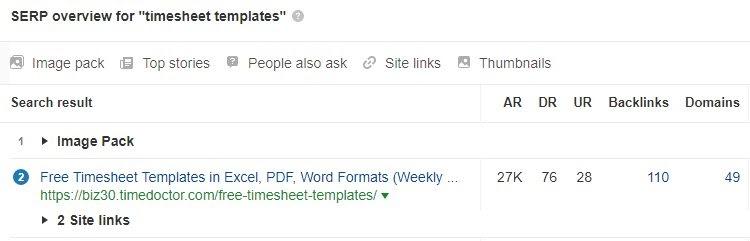 timesheet template rank
