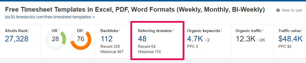timesheet template referring domains