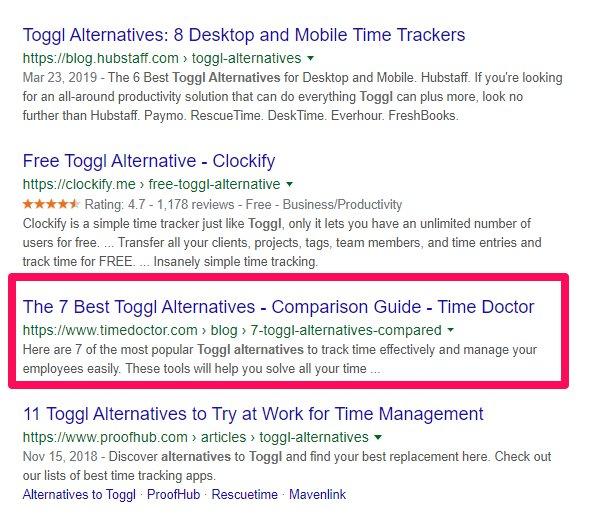 toggl alternatives ranking