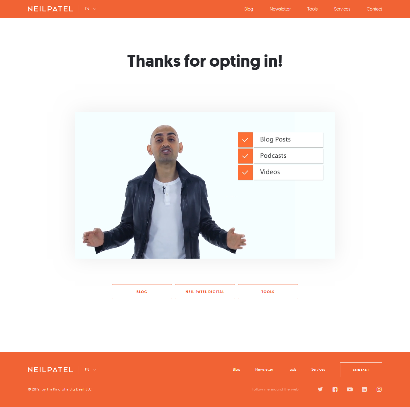 Neil Patel Thank You Page