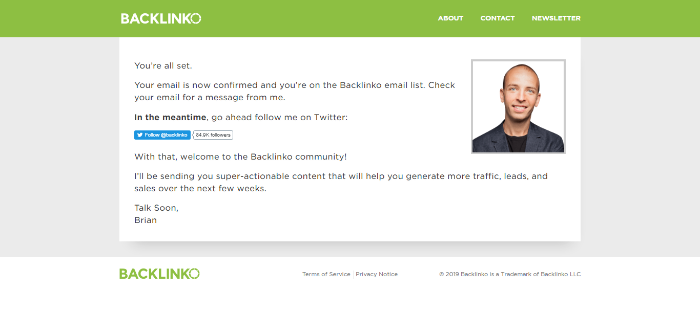 backlinko thank you page