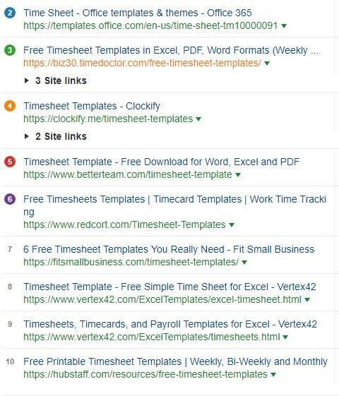 timesheet template serp analysis