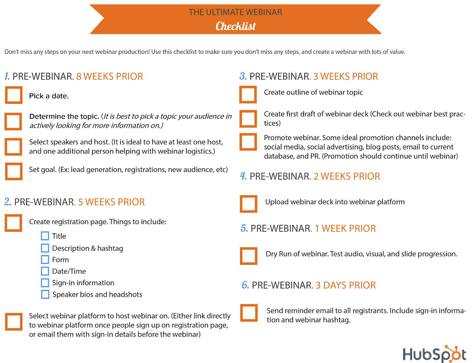 hubspot checklist