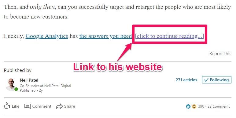 linkedin article cta