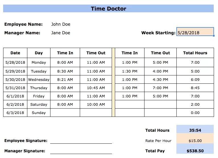 timesheet template