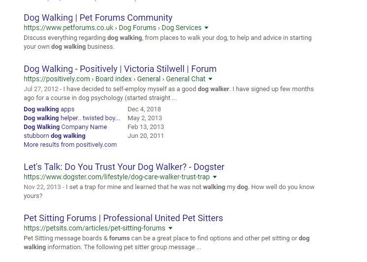 dog walking forum