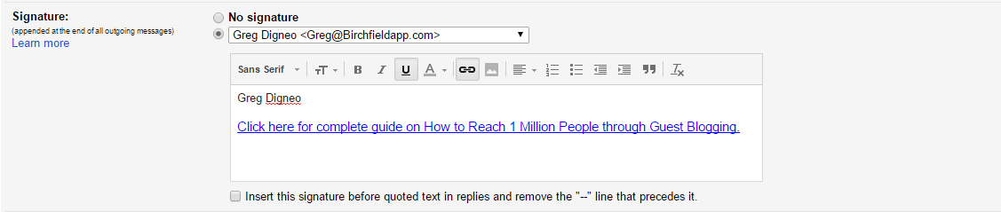 email signature cta link