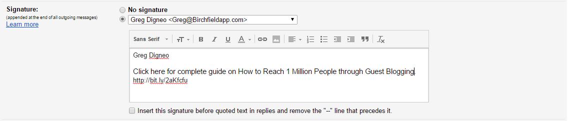 email signature cta