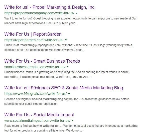 guest blogging serp results
