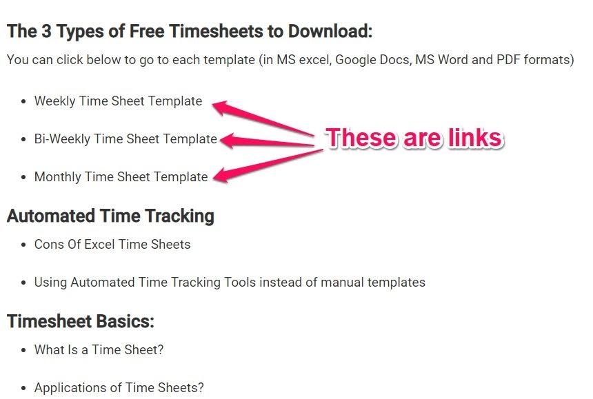 timesheet template jump links