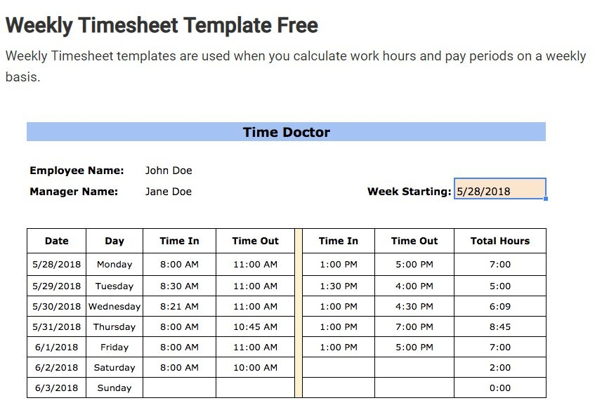 timesheet template section