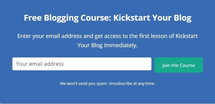 free blogging course inline form