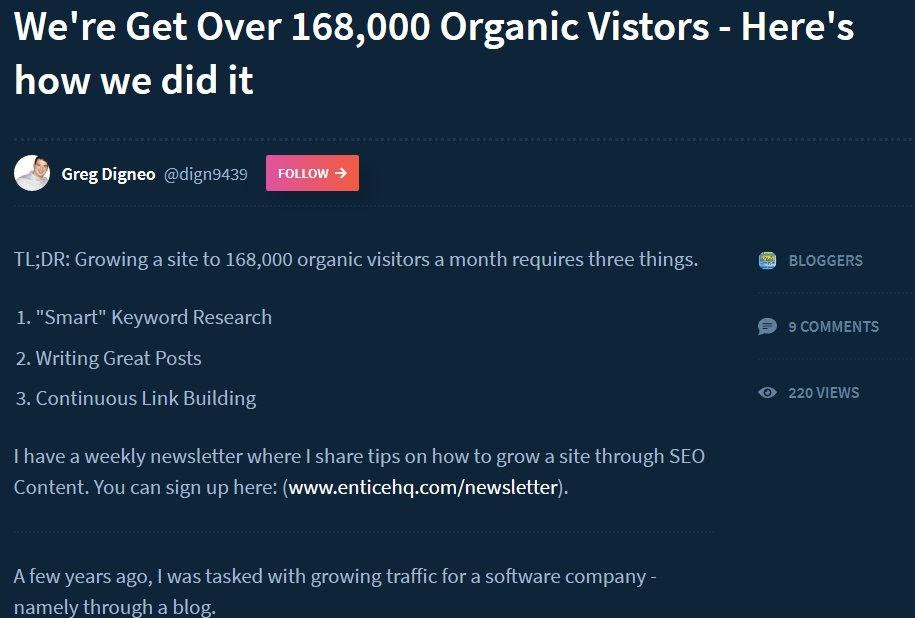 indiehackers post