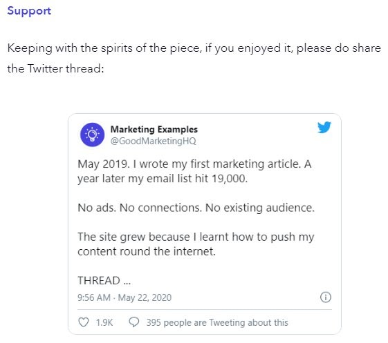 marketing examples twitter embed