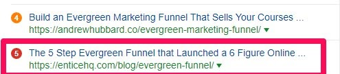 evergreen funnel rank